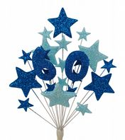 Number age 60th birthday cake topper decoration in shades of blue - free postage